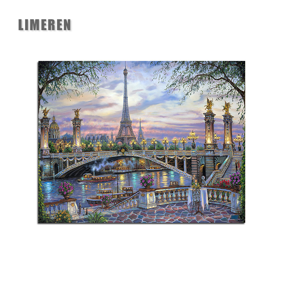 Scenic Bridge Oil Painting By Numbers On Canvas Unframed Diy Paris Eiffel Tower Coloring Wall