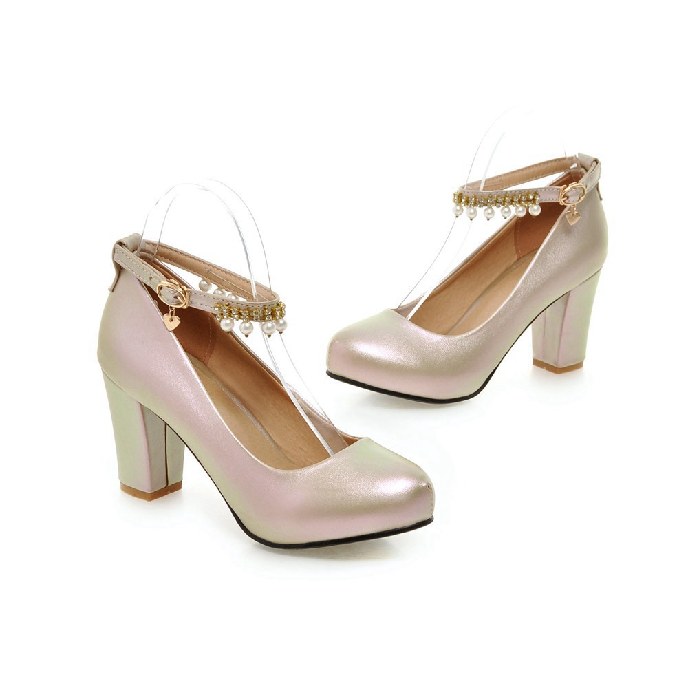 2017 Chunky High Heeled Pink Bridal Wedding Shoes Beaded White Female Buckle Elegant Pumps Silver Gold16