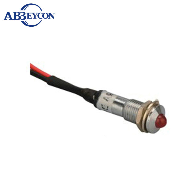 ABBEYCON metal pilot light 12v 24V 220V 8mm LED 12v voltage indicator with wire leading pilot