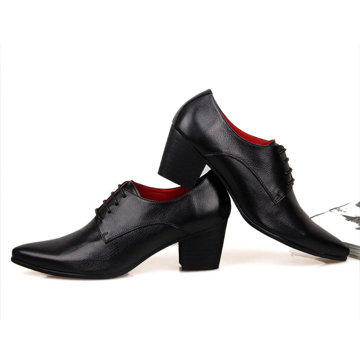 Solid Men's Pointed Toe Lace Up Oxford Leather Cuban Heel Casual Shoes Black Brown High Heels Shoes S151