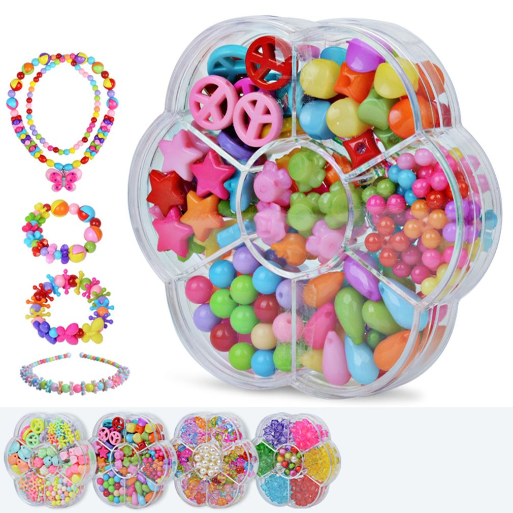7 Girds Kid Girl DIY Toys String Beads Set Brinquedo Necklace Handmade Bracelet Building Kit Make Up Intelligence Birthday Gift