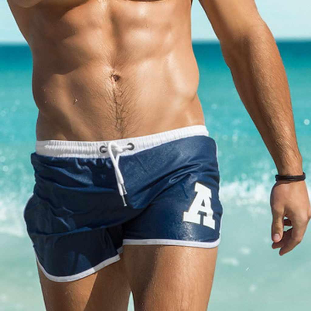 f0d86bbb71eef6 Hot sale Letter water repellent men's straps racing swimming swim trunks  Sport shorts flat corner men