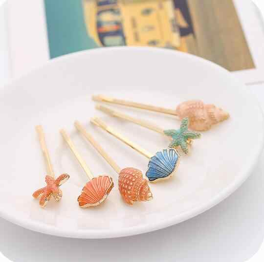 New Fashion Style Sweet Conch Sea Star Shell Barrettes Hair Clip Hair Accessory Wholesale Women Birthday Gifts