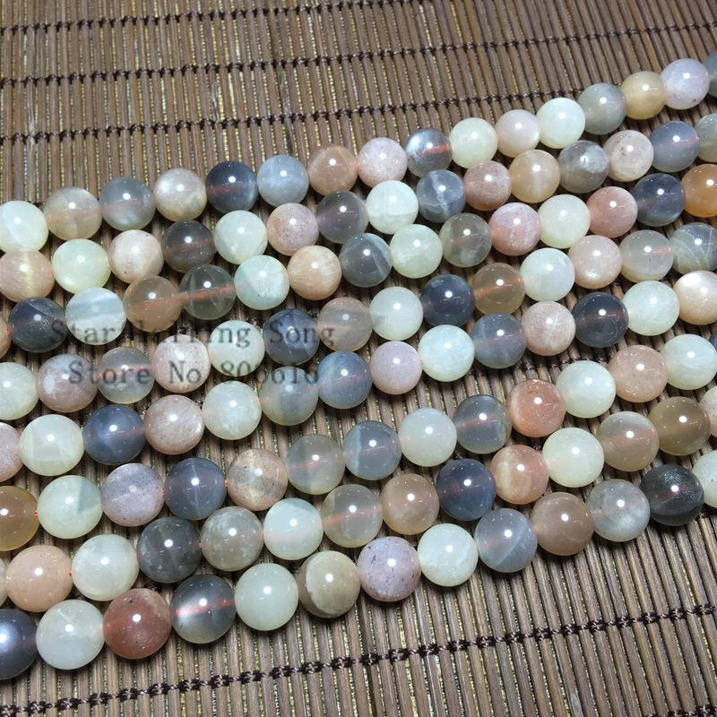 6-8MM 1Strand 100% Natural Colorful Moonstone Loose Bead Strands Semi-Precious Stone Jewelry Beads
