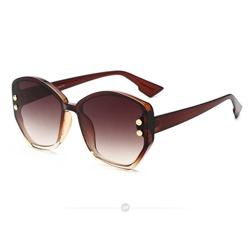 Frauen Sonnenbrille Neue Mode 2019 Europa Und Amerika Einfache Schatten Sonnenbrille Unregelmäßigen Gradienten Niet Rahmen Brillen Uv400 L3