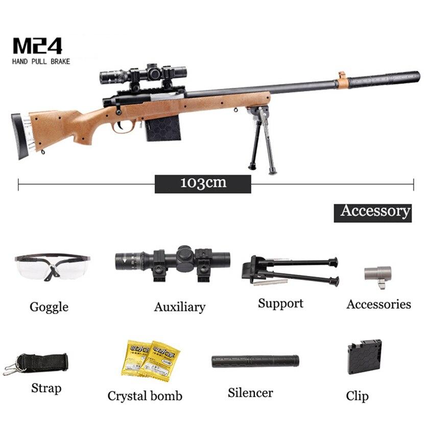 Chaude Eva2king M24 Sniper Fusils Jouet Silah Avec Longue Distance de Tir Orbeez Manuel Jouet Rifle Guns Pour Jouer À L'extérieur Jeux