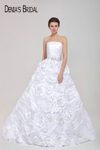 Real Pictures Strapless Sleeveless A-Line Wedding Dresses Ruched Floor-Length Chapel Train Bridal Gowns