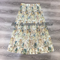 Women Pearl Faded Floral Print Pleated Fleeting Folds Skirt