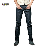 Idopy Men S Coated Jeans Korean Fashion Cool Waxed Waxing Slim Fit Biker Denim Pants