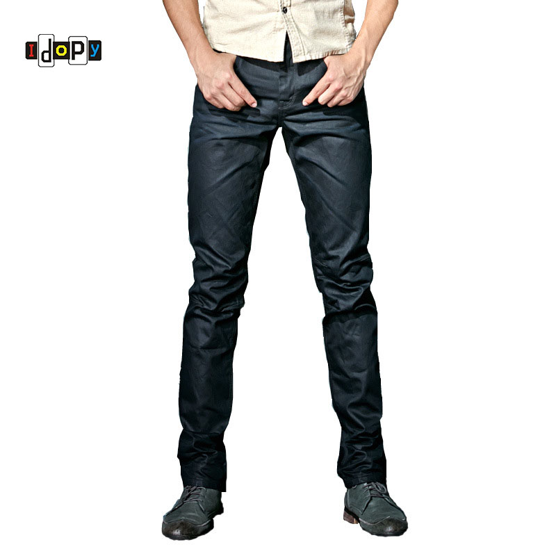 Idopy Men`s Coated Jeans Korean Fashion Cool Waxed Waxing Slim Fit Biker Denim Pants
