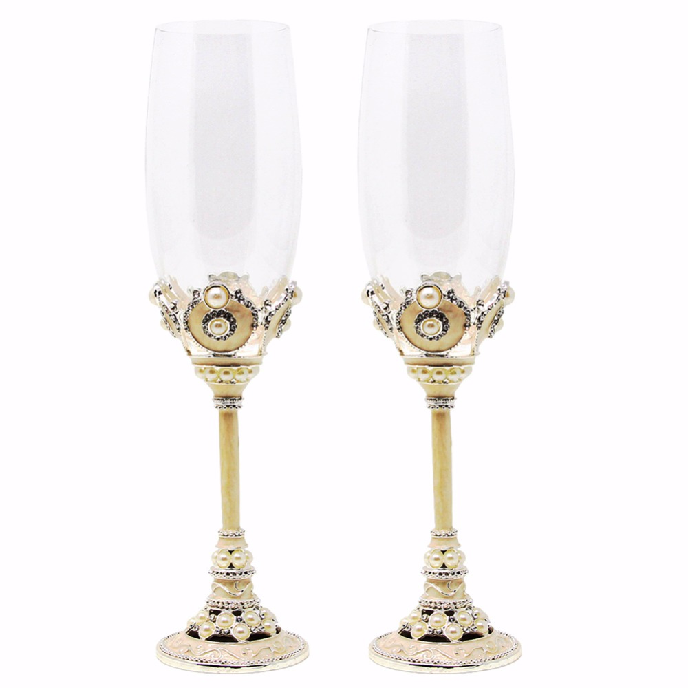 KEYTREND De Mariage Champagne Flûtes Artificielle Poire et Cristal Strass Décoratif Verre De Vin De Fête AECL116