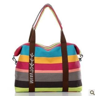 Women's Canvas Slung Women's Shoulder Bag Ladies Beach Handbags Striped Shopping Bag