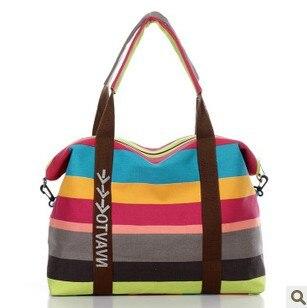Cintura das Mulheres da Lona das mulheres Saco de Compras Saco de Ombro Das Senhoras Bolsas de Praia Listrada