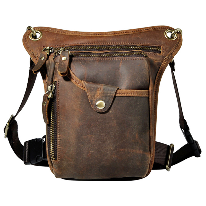 Men's Leather Cowhide Drop Leg Fanny Waist Pack Thigh Belt Hip Bum Motorcycle Riding Messenger Cross Body Shoulder Bag