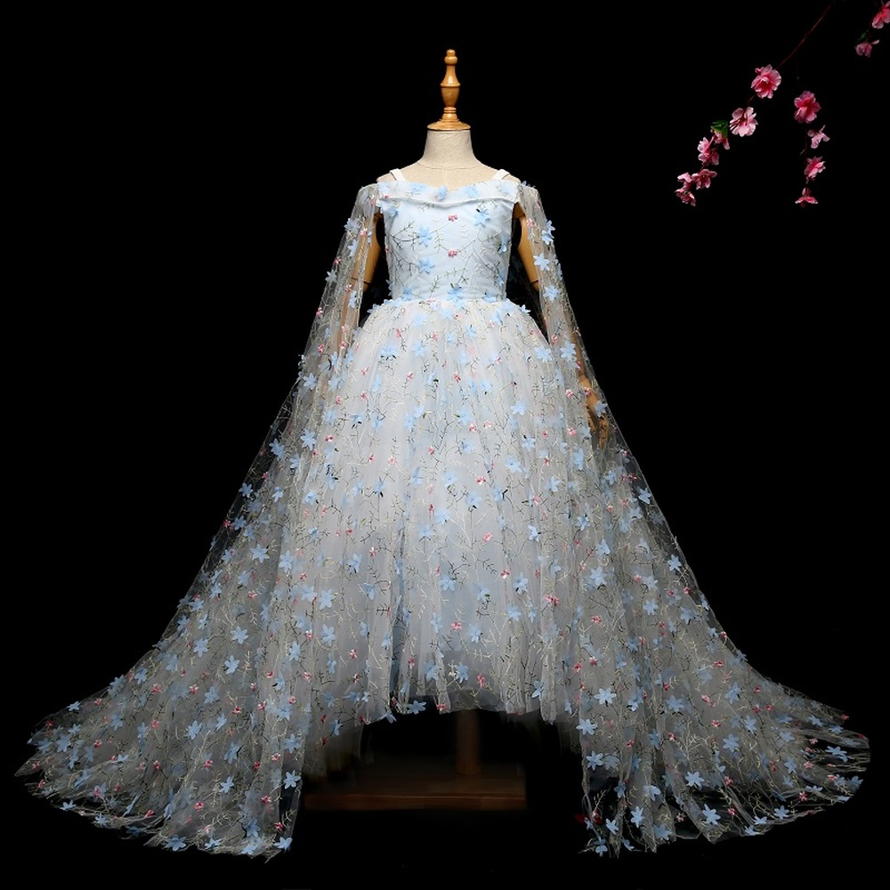 Halloween Host Flower Girl Trailing Wedding Dresses Girl High Quality Pearl Bright Drill Dress Lace Princess Long Dress Party цена