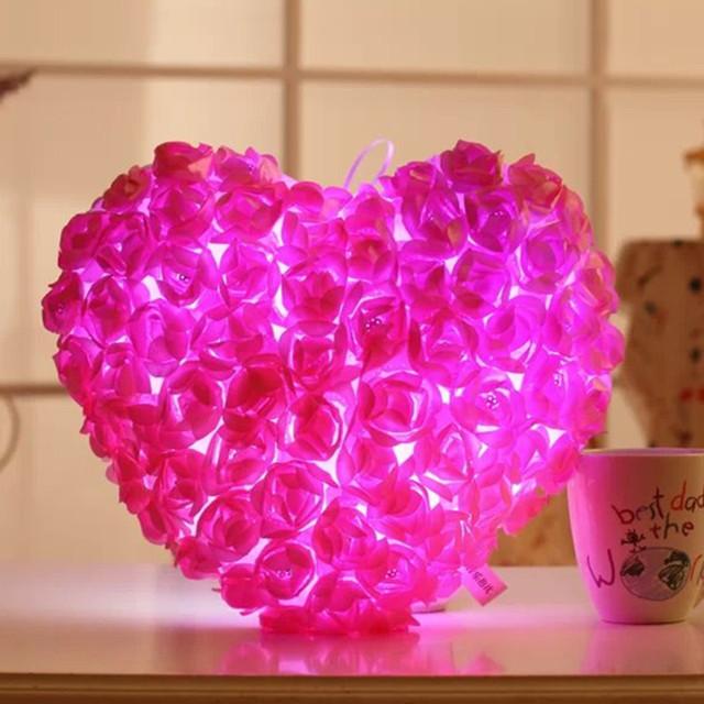 El amor Del Corazón de Rose LED Parpadeante Cojín de Peluche de Juguete de Regalo de Boda de San Valentín Día Presente Luz Luminosa Muñeca 38 cm