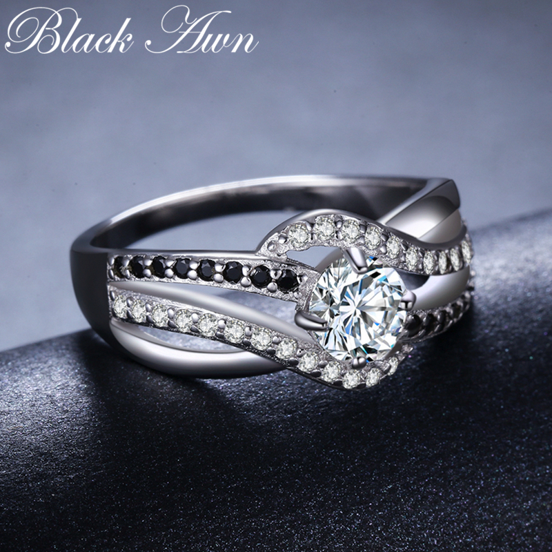 BLACK AWN Fine 3 5G Genuine 925 Sterling Silver Jewelry Trendy Engagement Rings for Women