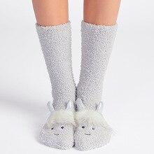 Новинка 2017 года Зима Kawaii Для женщин Носки для девочек мультфильм 3D Единорог Рог хлопка носки-тапочки женские до середины икры высокое смешные носки Рождественский подарок