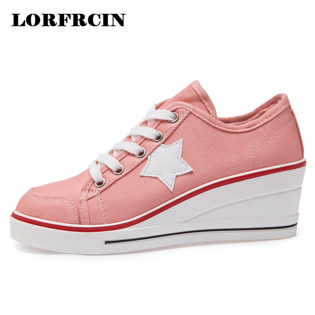 LORFRCIN Canvas Shoes Woman Platform Wedge Trainers Fashion Star Height  Increasing Casual Shoes Women 6 cm Pumps Tenis Feminino. Rated ... 95e7cd5ca394