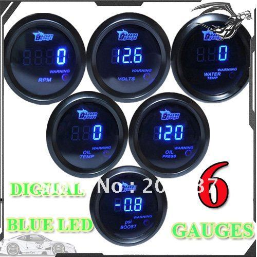 2 52mm BLACK DIGITAL BOOST/WATER/OIL TEMPERATURE/OIL PRESSURE/VOLT/TACHOMETER GAUGE+2 PCS TRIPLE DASH GAUGE HOLDER MOUNT POD
