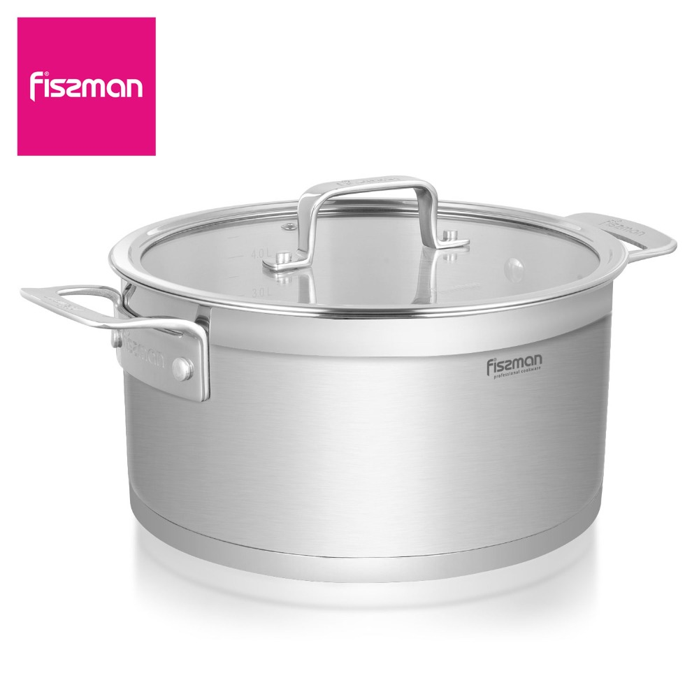 FISSMAN FOBUS Series Casserole with glass lid Induction Stainless Steel Stockpot
