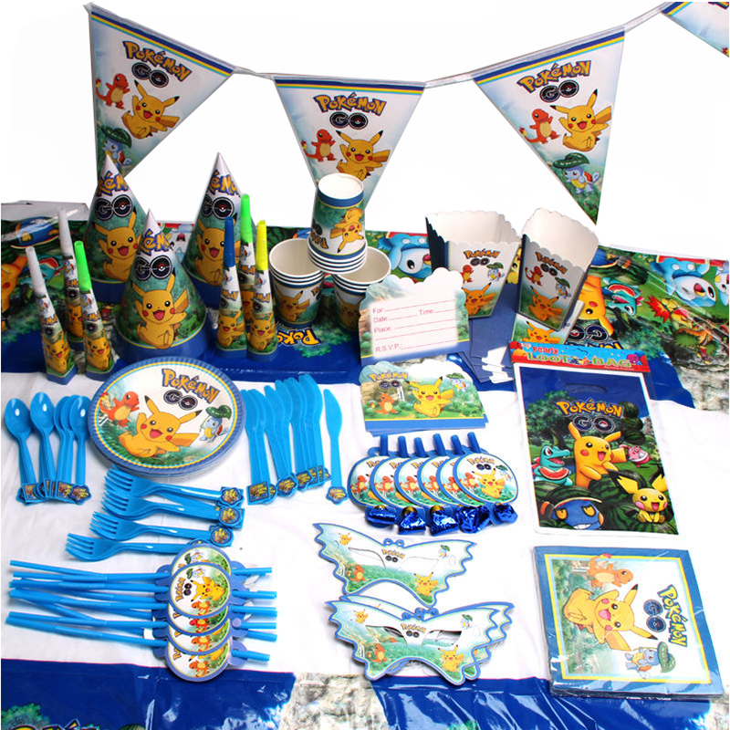 145pcs/lot Cute Pokemon Children Birthday Party Decorations Kids Evnent Party Supplies Birthday Tableware Sets Party Favors