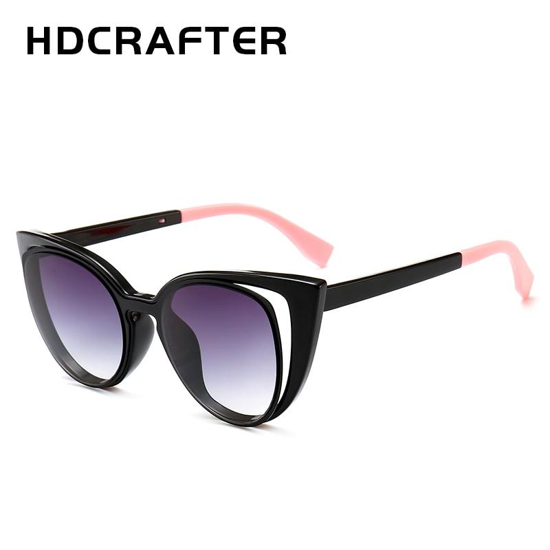 HDCRAFTER 2018 Роскошные Брендовая Дизайнерская обувь «кошачий глаз» Для женщин Винтаж градиент полые женские ретро солнцезащитные очки