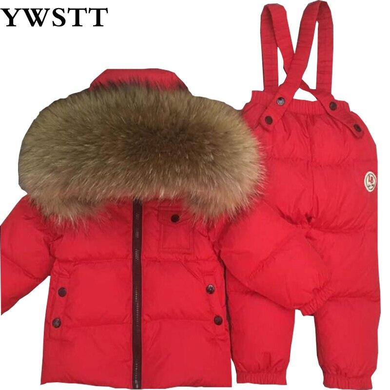 Шоколад зимний комбинезон для маленьких мальчиков 90% утка вниз открытый Детское пальто мех енота пуховик + комбинезон 2 шт./компл. красный ма