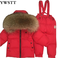 Chocolate Snowsuit Baby Boy 90% duck Down Outdoor Infant Overcoat Raccoon Fur Down Jacket+overalls 2pcs/set red matte for kids