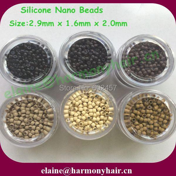 ( 1000 шт. / бутылка, 6 бутылки / много ) 2.9 x 1.6 x 2.0 мм цветовой гаммы силикон выстроились Nano бусины для Nano кольцо наращивание волос