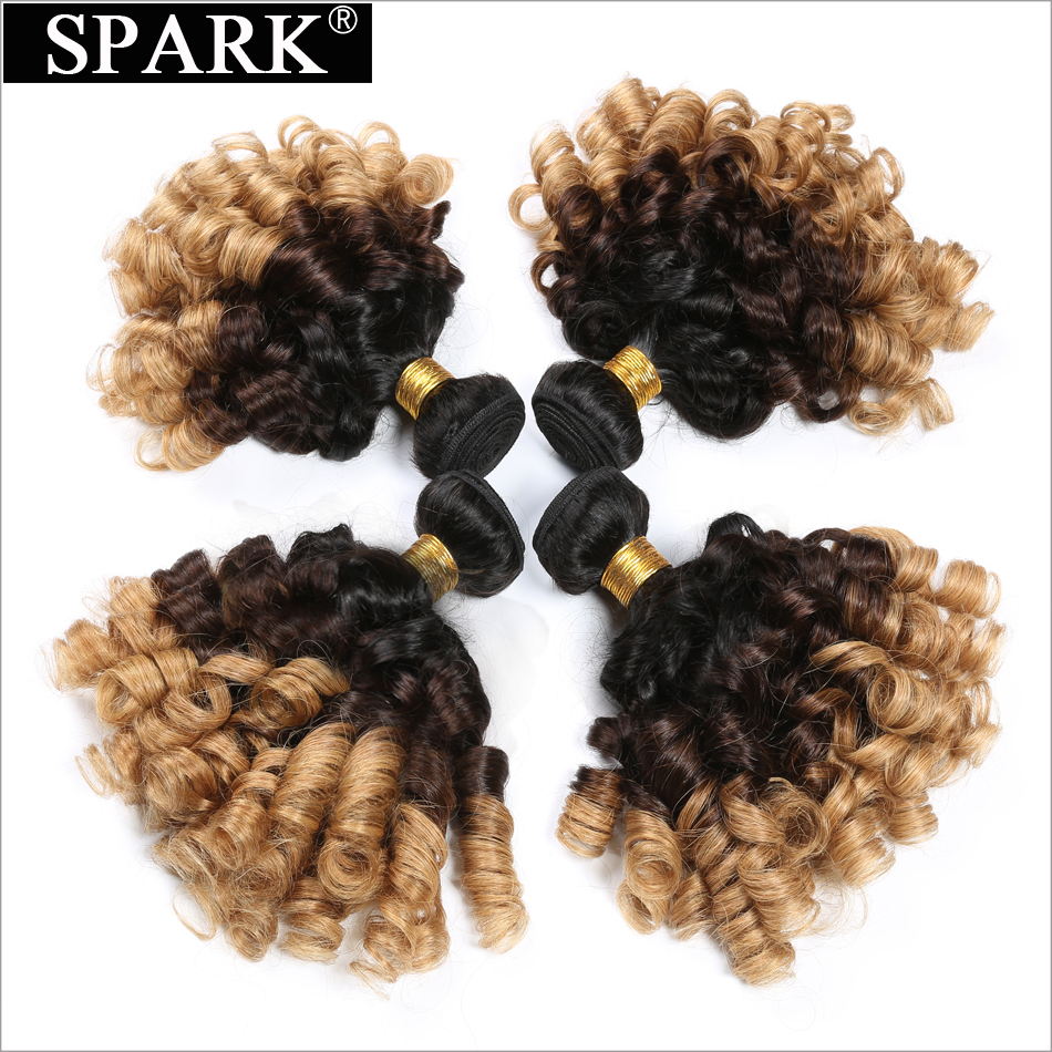 Spark 1B / 4/27 3 Tone Ombre Malaysian Bouncy Curly Hair Weaving Bundles 100% Rambut Manusia 10-26 Inci 1/3 / 4PCS Exty Hair Extensions