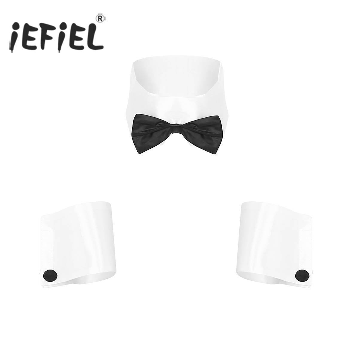Mens Adults Dancer Costume Playboy Costume Accessories Collar and Cuffs Set for Halloween Single Parties Novelty Accessories