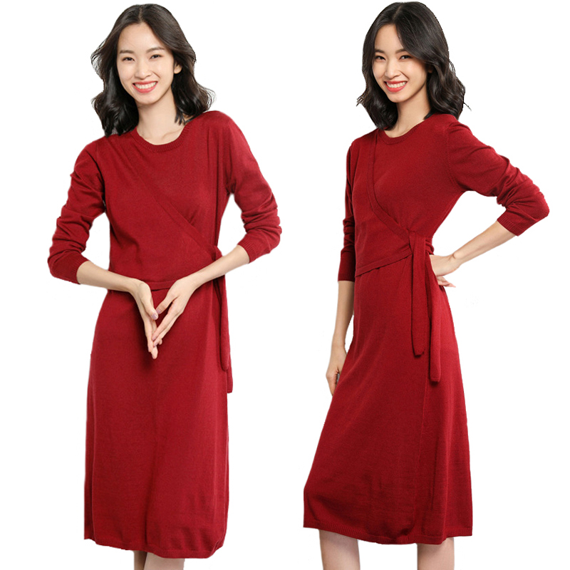 Autumn Winter Dress 2018 New Long Pullovers Knitted Sweater Dress Loose Bow Sashes Long Sleeve Cashmere Sweater Dresses Wool 2XL