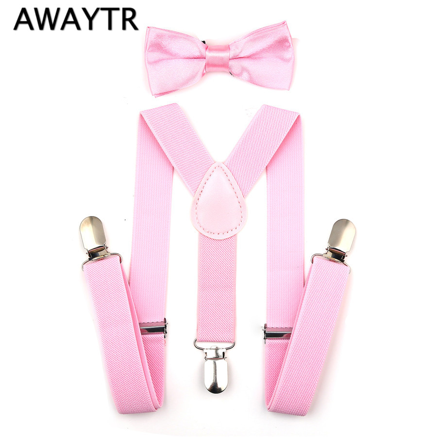 2017 Boys Girls Adjustable Elastic Clip On Baby Clothing Accessories Suspenders Belt+Bow Tie Set Tirantes Kids Suspenders