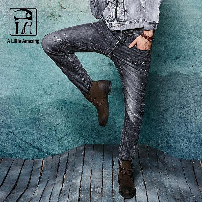 ФОТО 2016 Mens Stretch Knitted Denim Darked Wash Jeans with Painting White Black Snow Wash Slim Straight Jeans Grey Jeans 158030