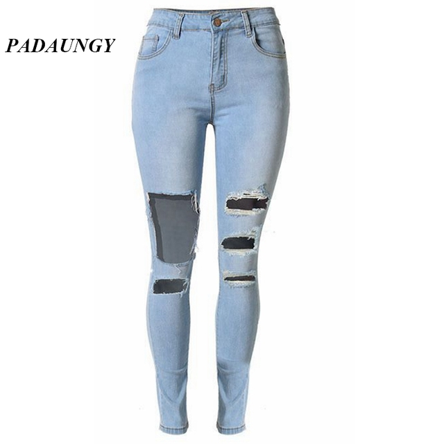 9dd1cc5ae9ef5 PADAUNGY High Waist Torn Women Jeans Denim Pencil Pants Vaqueros Mujer Ripped  Trousers Skinny Slim Jeggings Pantalon Jean Femme