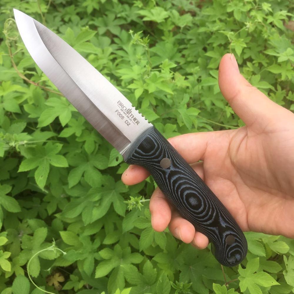 [BROTHER F005] 61HRC D2 lame couteau à lame fixe boiscraft couteaux droite tactique chasse Camping haute qualité EDC outil