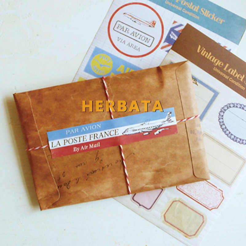 12 Pcsset Gaya Retro Kraft Coklat Kertas Amplop Kartu Pos Surat Undangan Alat Tulis Kertas Tas Vintage Air Mail Hadiah Amplop