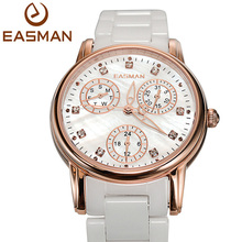 EASMAN Women Ceramic Watch Day and Date Waterproof Mother of Pearl Dial Ladies Ceramic Watches Women