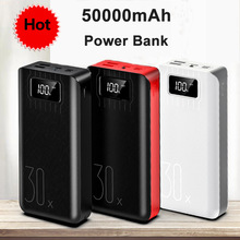 18650 High Capacity Power Bank 50000mah External Battery 3 USB LED Powerbank Type-c Portable Mobile charger for Xiaomi One plus 50000mah large capacity mini portable power bank lightweight dual usb battery charger power backup with led light for phone