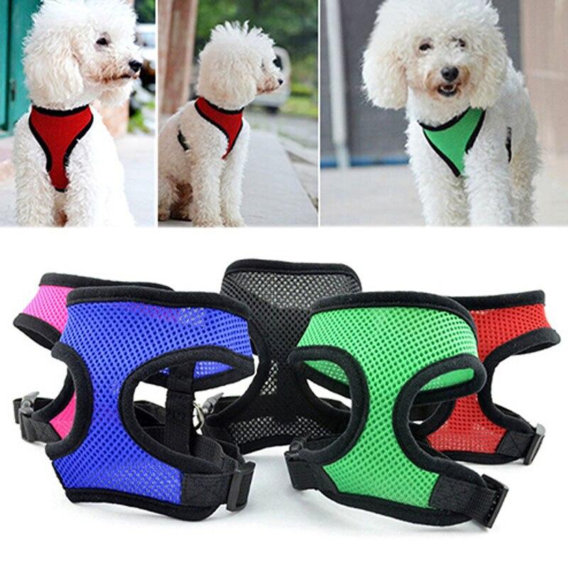 Solid Dog Harness Adjustable Breathable Soft Dog Pets Collar Nylon Mesh Vest Harness For Pets Dog Chest Strap Leash Vest Rope