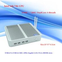 HRF Reciente Skylake Intel Core i5 6360U/Intel i5 KabyLake 7200U Mini PC Windows 10 Max 3.1 GHz 4 K HD HTPC Freeshipping Sin Ventilador pc