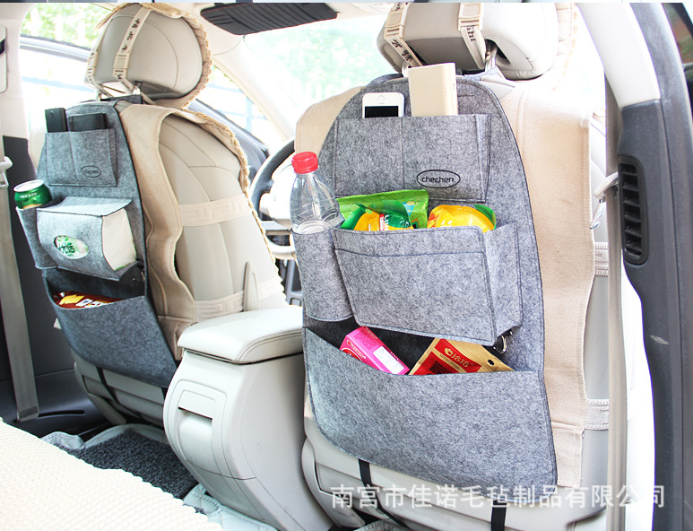 Car Storage Bag Fix On Back Of Seat Felt Fabric Phone Holder Paper Book Food Purple Red Black Gray Green 1pc In Stowing Tidying From