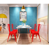 4 Pieces High Quality Armless Chair Metal Dining Chair Side Chair In Red Stock In US