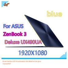 14 cal LCD ekran dla asusa ZenBook 3 Deluxe UX490UA UX490U UX490UAR UX490 notebook wyświetlacz LCD FHD niebieski górna połowa wymiana