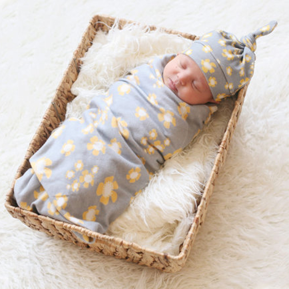 Newborn Baby Cotton Swaddle Blanket Set With Knot Top Hat
