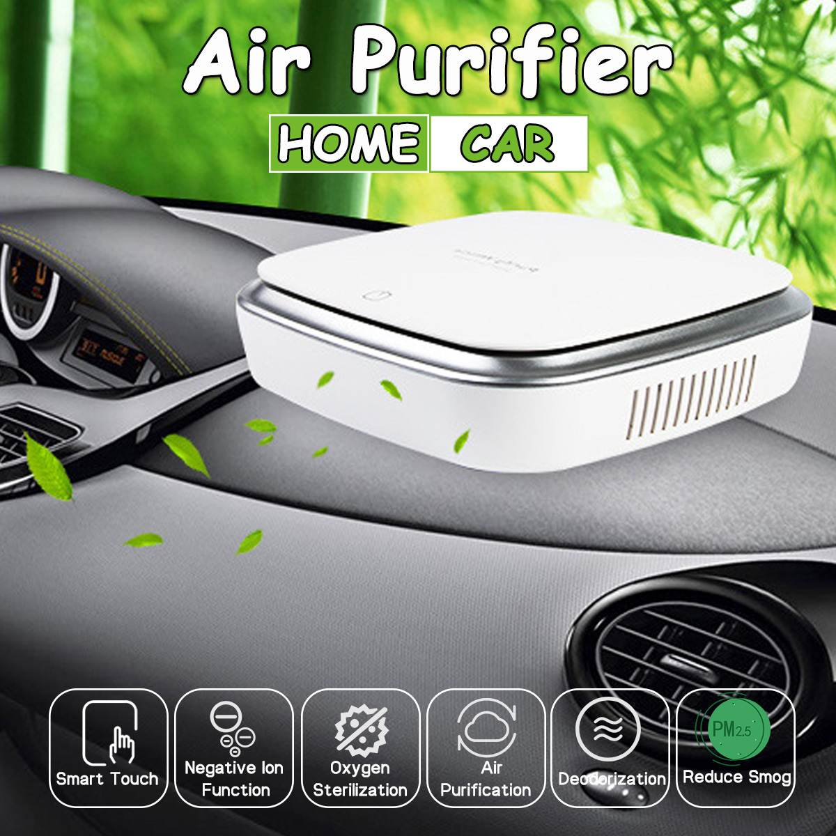 Car Air Purifier Freshener Portable Negative Ions Air Cleaner USB Fog Cleaner Auto Fresh Air Purifier Oxygen Bar Ozone Ionizer