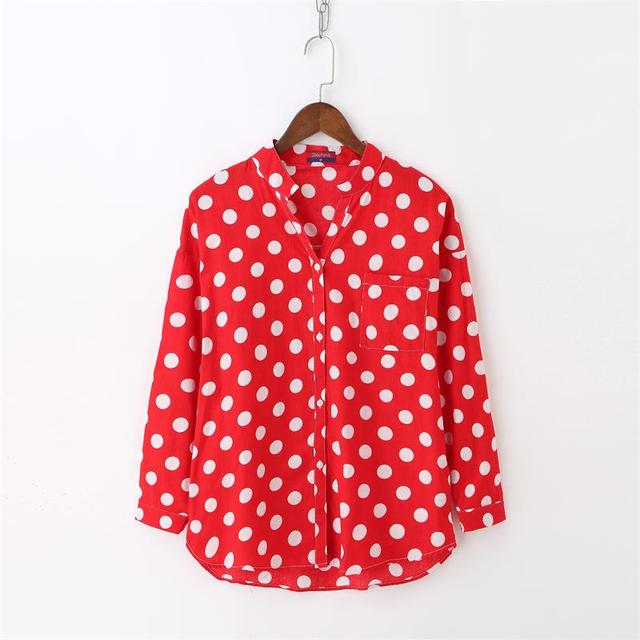 20ee4f96274f1 Dioufond New Black Red White Shirt Long Sleeve Pockets Polka Dot Blouse V-Neck  Cotton Red Dot Casual Blouses Women Tops Fashion