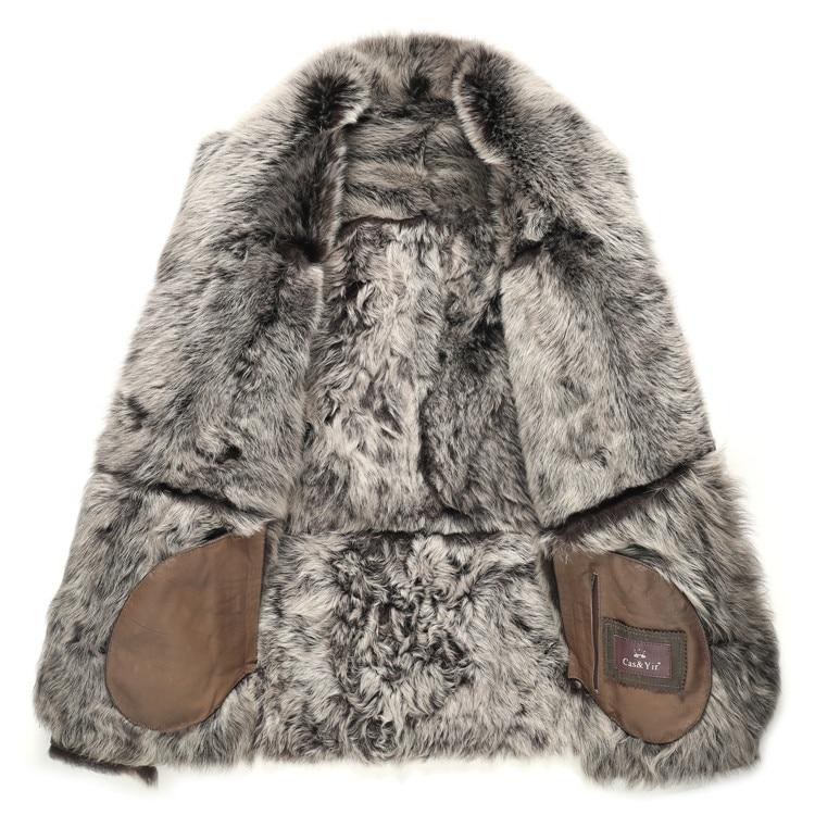 AYUNSUE Genuine Leather Jacket Men Winter Sheep Shearling Jacket Long Sheepskin Coat for Men Plus Size Real Wool Fur Coat KJ1199