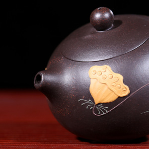 Image 3 - Czarny Zhu błoto Yixing czajniczek czysta ręka Handmade kolorowe błoto malowany kwiat ptak Xi Shi Pot purpurowa glina 188 Ball Hole 170ml